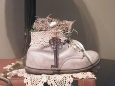 Spring!  Repurposed Vintage Baby Shoe.