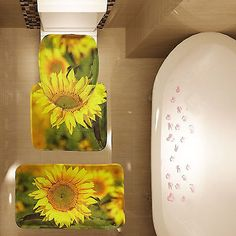 Elegant Sunflowers Pattern 3 Pc Bathroom Carpet Pedestal Lid Mat Toilet Rug Set New