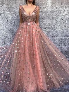Stylish A Line V Neck Pink Tulle Long Prom/Evening Dresses with Appliques H01472 #shoppingonline #promdresses #longpromdresses #pinkpromgown #promgowns