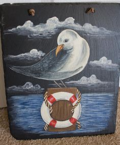 Painted Slate Picture Plaque Bird Water Life Preserver Welcome Sign Nautical  http://stores.ebay.com/Glennis-Alexandras-World