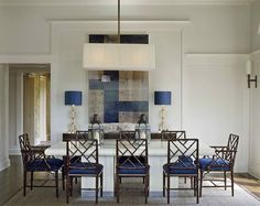 Chinese Chippendale chairs with dark stain (dining area designed by Sherrill Canet)