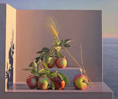 """David Ligare, artist, """"Still Life with Olives and Wheat"""" notice the shadow and how it creates a second image (Aparchai)"""