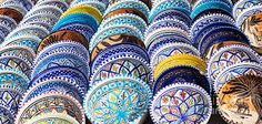 Pottery by mythja. Beautiful arabic colorful pottery bowls made of mosaic vibrant glass tiles. Blue Pottery Jaipur, Painted Table Tops, Souvenir Store, Arabic Art, Color Crafts, Pottery Bowls, Ceramic Clay, Hand Painted Ceramics, Cool Posters
