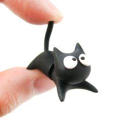 Handmade Black Kitty Cat Animal Fake Gauge Clay Stud Earring | DOTOLY