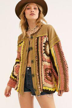 Women's Free People No Rain Sweater Jacket, Size Medium - Green Knit Fashion, Boho Fashion, Spring Fashion, Vintage Fashion, Ankara Fashion, Africa Fashion, Tribal Fashion, Fashion Tips, Crochet Woman