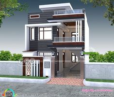2200 sq-ft 4 bedroom India house plan modern style 2200 square feet 4 bedroom modern contemporary house plan by S. House Outer Design, Modern Small House Design, Modern Exterior House Designs, House Front Design, Modern Bungalow House Design, House Main Gates Design, 3 Storey House Design, Duplex House Design, 2 Bedroom House Design