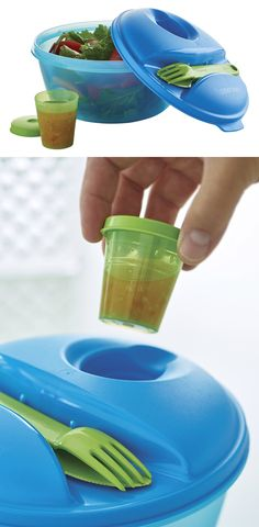 Salad On the Go Set. This unique container is ideal for both on-the-go and at-home use. In addition to serving salads, it's also great for fridge storage. Everything snaps together for the ultimate in convenience.