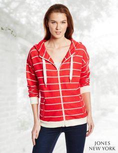 Jones New York Women's Long Sleeve Zip Front Hoodie