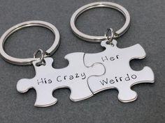 His Crazy Her Weirdo puzzle piece keychain set, Couples Keychains