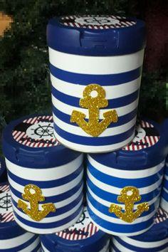 Souvenires marinero con latas de leche Baby Shower Cupcakes For Boy, Moldes Para Baby Shower, Ideas Para Fiestas, Nautical Baby, Paper Crafts, Masquerades, Birthday, Sailor Party, Nautical Party