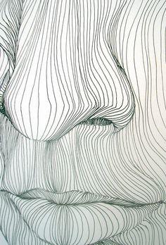 Line Drawing: Op art, Contour line 3d Drawings, Contour Drawings, Drawing Faces, Flower Drawings, Art Graphique, Elements Of Art, Design Elements, Painting & Drawing, Drawing Drawing