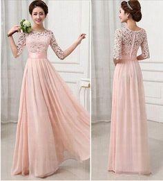 Pink lace bridesmaids dress