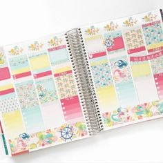 Tropical Mermaid Kit (7 Sheets Of Matte Planner Stickers) For July Erin Condren Life Planner