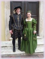 Customers..Costume of the Late Renaissance....First half of the 16th century, Italy...this costume is of the late Italian Renaissance. This dress was based on a painting by Kempeneer