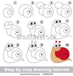 Drawing tutorial for children. Easy educational kid game. Simple level of difficulty. Kid education and gaming. Indoor games for children. How to draw Red snail.