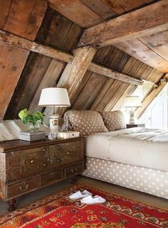 Love this rough hewn #wood beams #bedroom with a lovely #rug