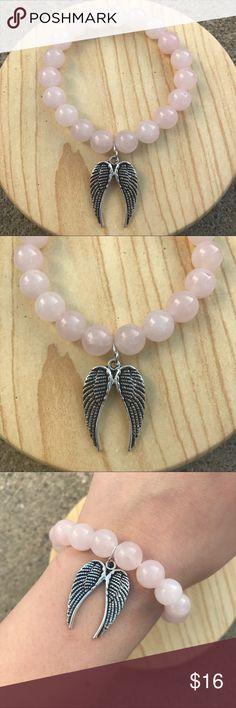 Handmade Rose Quartz Angel Wing Bracelet Handmade stretch bracelet with Natural Rose Quartz stone beads and beautiful silver angel wings charm. handmade Jewelry Bracelets