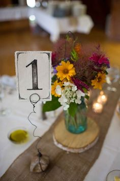 Rustic wedding table number #weddingreception #tablenumber #rusticwedding #centerpiece #weddingdecor