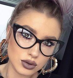 "Sexy Attitude ""NIKITA"" Fashion Cat Eye Glasses Celebrity Clear Lens Hot Frames L"