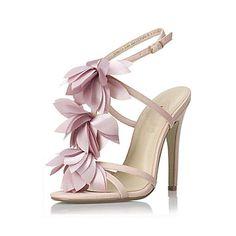 Pink flower Stiletto Heel Ankle Strap Sandals