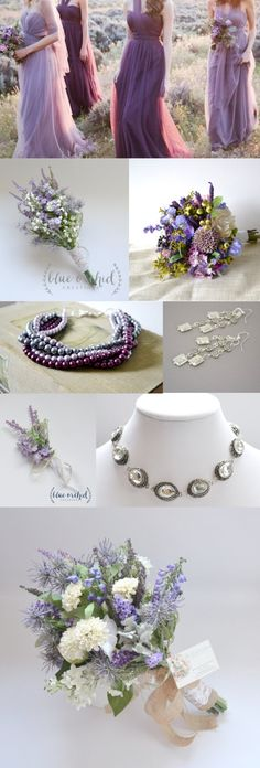 Rustic purple wedding. Bridesmaids in different shades of purple with wildflower bouquets. Hints of burlap and lace with baby's breath. Twisted pearl necklaces with silver accents that pair beautifully with dresses. Find our flowers and bouquets at our Etsy shop BlueOrchidCreations https://www.etsy.com/shop/blueorchidcreations Find our jewelry at our Etsy shop JoyKatharine