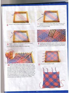 puntos-bastidor-cuadrado-5 Pin Weaving, Weaving Art, Loom Weaving, Tapestry Weaving, Loom Knitting Stitches, Loom Knitting Projects, Weaving Projects, Weaving Textiles, Weaving Patterns