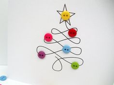 Christmas Card - Christmas Tree with Button Baubles - Paper Handmade Greeting Card - Holiday Card - Etsy UK - Picturre Design Button Christmas Cards, Diy Holiday Cards, Christmas Card Packs, Christmas Buttons, Simple Christmas Cards, Christmas Card Crafts, Homemade Christmas Cards, Printable Christmas Cards, Christmas Cards To Make