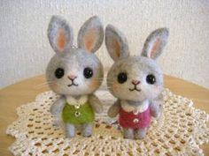 Super cute needled felted bunnies
