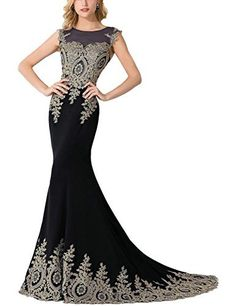 (My review of MisShow Women's Embroidery Lace Long Mermaid Formal Evening Prom Dresses) -  This gorgeous evening dress features illusion back,gold lace,it is worthy of celebration! Color:Black,Royal Blue,Burgundy,Red,Ivory,Navy Dress Length: Full Length Sleeve Style:Sleeveless Built-in Bra:Yes Age Group: Adult Size:Size 2,4,6,8,10,12,14,16 on our size chartthe detaield measurements of...