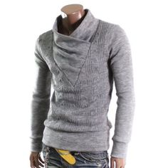 Doublju Mens Pullover Shirring Neck Sweater
