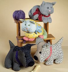 SEWING PATTERN McCalls M4893 Stuffed Animals Toys CALICO PETS DOGS CATS