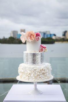 Metallic-silver and pink-floral details: http://www.stylemepretty.com/australia-weddings/2015/01/22/modern-elegant-melbourne-wedding/