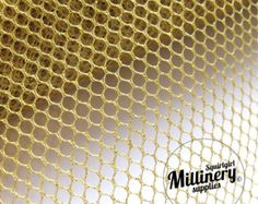 Glitter Mesh Netting Fabric Gold 45cm (17.7 Inches) Wide for Fascinators, Millinery & Wedding Craft 1 Yard