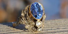 Stunning Art Nouveau Sapphire and Diamond ring - on VictoriaSterlingAntiques.com
