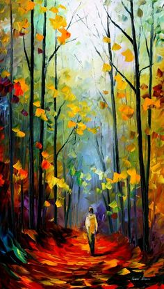 Morning Mood — Palette Knife Landscape Forest Artwork Oil Painting On Canvas By…