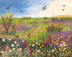 "Josephine Grundy: ""Born and brought up on a farm in West Berkshire, Jo's love of nature and the English Landscape is very evident in her charming, whimsical paintings."""