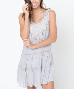 Love this Gray & Pink Embroidered Dress on #zulily! #zulilyfinds