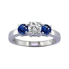 2 CT 3 Stone Blue Sapphire & Diamond Ring 14K White Gold In Size 7 (Available In Sizes 5 - 10)  http://electmejewellery.com/jewelry/wedding-anniversary/engagement-rings/2-ct-3-stone-blue-sapphire-diamond-ring-14k-white-gold-in-size-7-available-in-sizes-5-10-com/