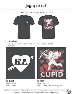 JCG Apparel : Custom Printed Apparel : Kappa Delta Date Night T-Shirt #greek #kappadelta #kaydee #kd #stupid #cupid #date #night #party #social #mixer #swap #valentines #crush #arrow #heart #galentines