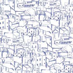 330225 Blue Hillside Village Sketch - Kasabian - Eijffinger Wallpaper