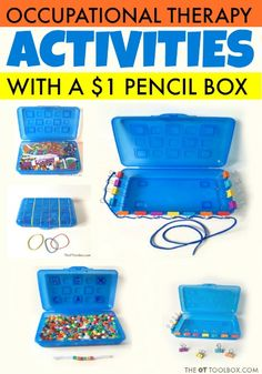 These pediatric occupational therapy activities use a dollar pencil box and c. Visual Motor Activities, Fine Motor Activities For Kids, Preschool Activities, Physical Activities, Senior Activities, Occupational Therapy Activities, Occupational Therapist, Hand Therapy, Therapy Tools