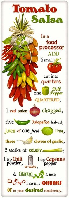 Tomato Salsa Recipe 100% Cotton Flour Sack Dish Towel Tea Towel