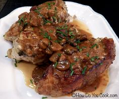 braised chicken breasts + mushrooms with dijon cream sauce