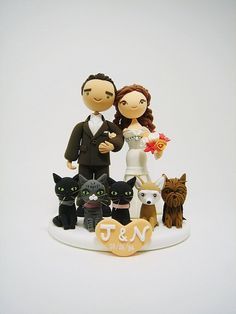 Cute couple custom wedding cake topper with 5 pets by Clayphory