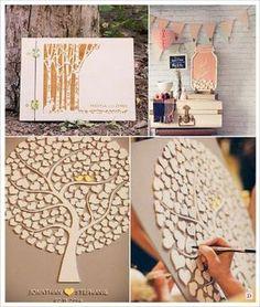 mariage rustique champêtre livre d'or en bois arbre en bois pot de confiture à messages