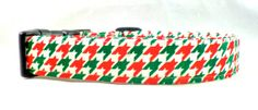 Tis The Season Red Green and White Houndstooth Dog by Maltipaws, $13.25