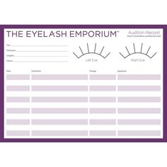 Add a professional touch to your eyelash extension service with record and consultation cards. We advise all technicians issue one prior to the treatment.