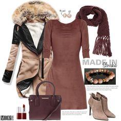 dámske-hnedé-šaty-kabát-vínový-šál-kabelka-čižmy-kotníkové