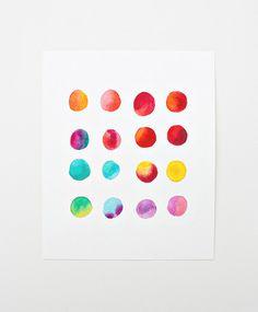 rainbow dot watercolor print