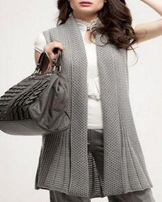 triko 360 x 540 ( Vest Pattern, Top Pattern, Fall Fashion Outfits, Womens Fashion, Winter Jackets Women, Knitted Tank Top, Knit Cardigan, Baby Knitting, Knitting Patterns